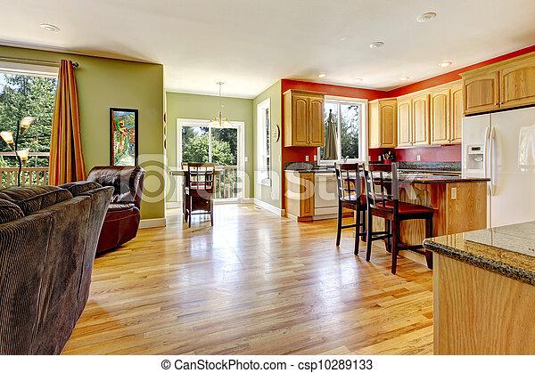 Vida, sniny, piso, pared, room., madera, cocina verde. Vida ...