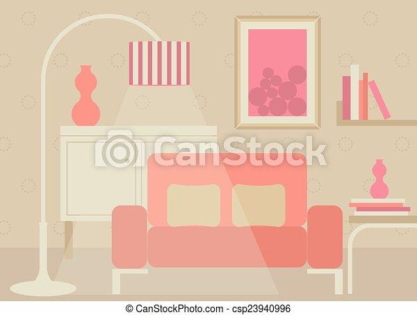 Sala de estar en tono dulce - csp23940996