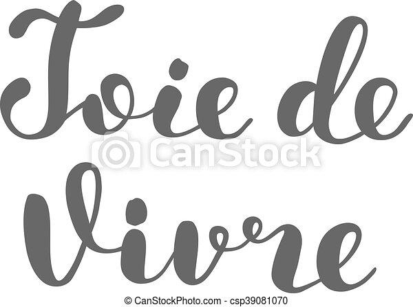 vida, vivre., alegria, de, joie, french., lettering. - csp39081070