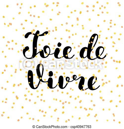 vida, vivre., alegria, de, joie, french., lettering. - csp40947763