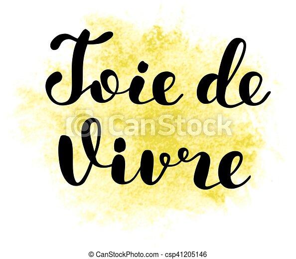 vida, vivre., alegria, de, joie, french., lettering. - csp41205146