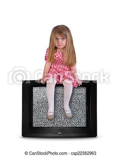 vide, tã©lã©viseur, enfant, désordre, séance - csp22362963