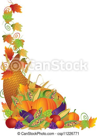 videiras, borda, ação graças, ilustração, cornucópia - csp11226771
