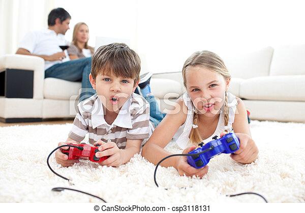 video, børn, idræt, spille, ophids - csp3118131
