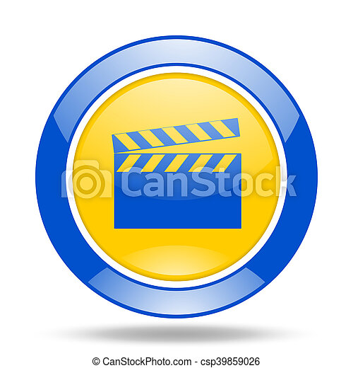 video blue and yellow web glossy round icon - csp39859026