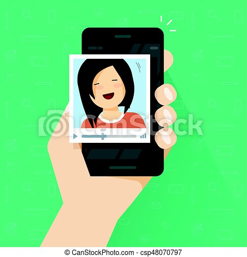Video Call On Smartphone Vector Flat Cartoon Girl Calling Via Mobile Phone And Communication