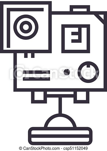 Video Camera Gopro Vector Line Icon Sign Illustration On Eps