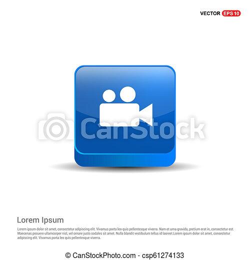 Video Camera Icon - 3d Blue Button - csp61274133