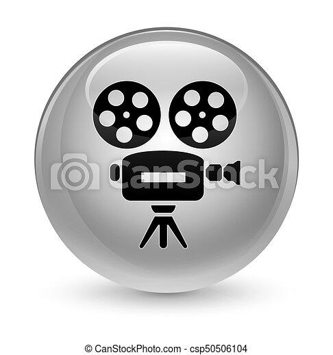 Video camera icon glassy white round button - csp50506104