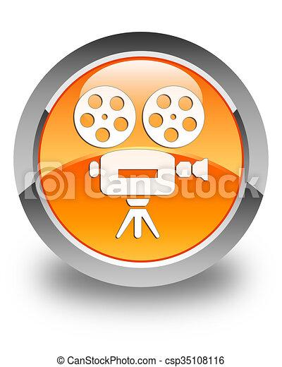 Video camera icon glossy orange round button - csp35108116