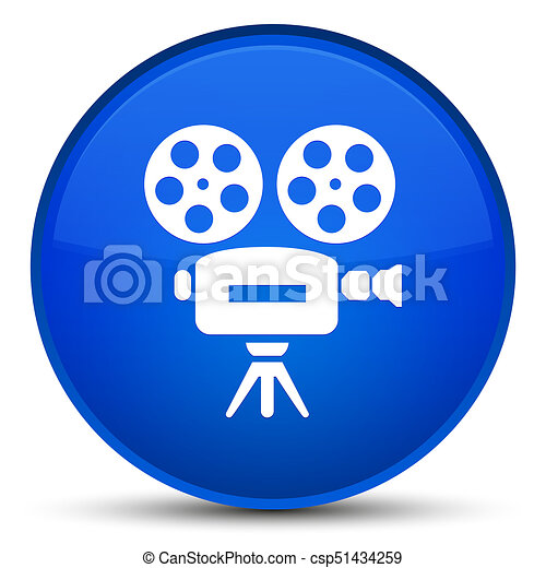 Video camera icon special blue round button - csp51434259
