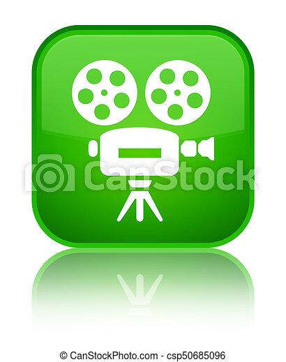 Video camera icon special green square button - csp50685096