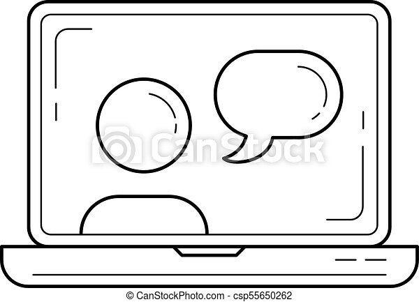Video chat vector line icon