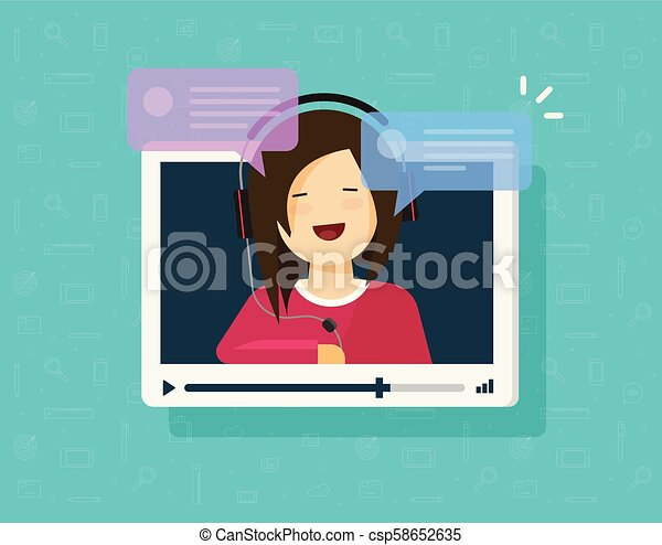 Video chatting online vector illustration, flat cartoon video player window  with speaking happy girl and bubble speeches messages, concept on-line
