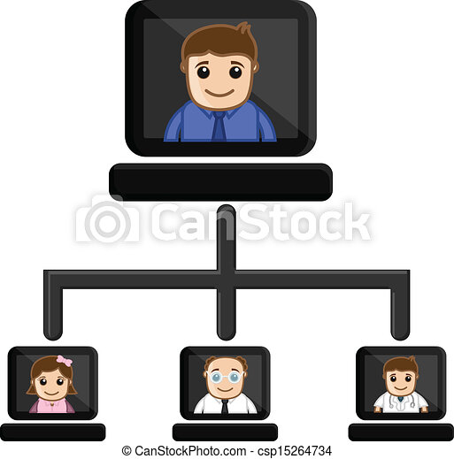 Video Conference Business Cartoon Drawing Art Of Cartoon People
