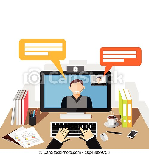 video conference illustration flat design video call