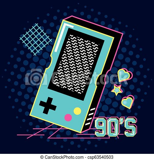 video game hand of nineties retro - csp63540503
