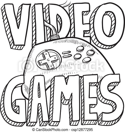 video games sketch doodle style video games sports illustration 1970s Computer Games video games sketch