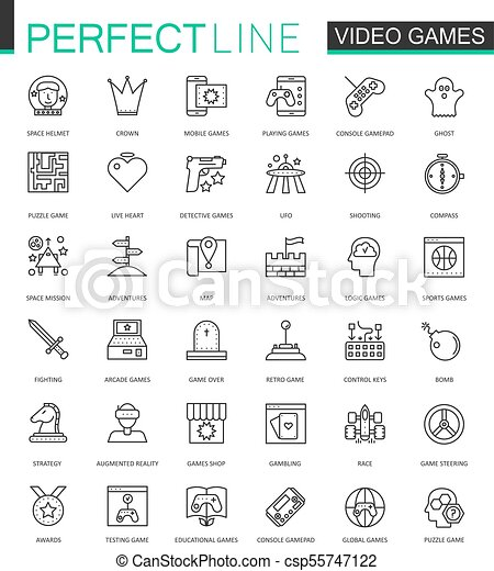 Video Games Thin Line Web Icons Set Mobile Game App Interface - Video game outline