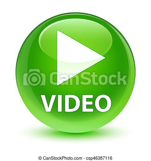 Video glassy green round button - csp46387116