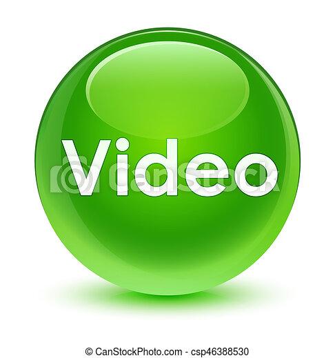 Video glassy green round button - csp46388530