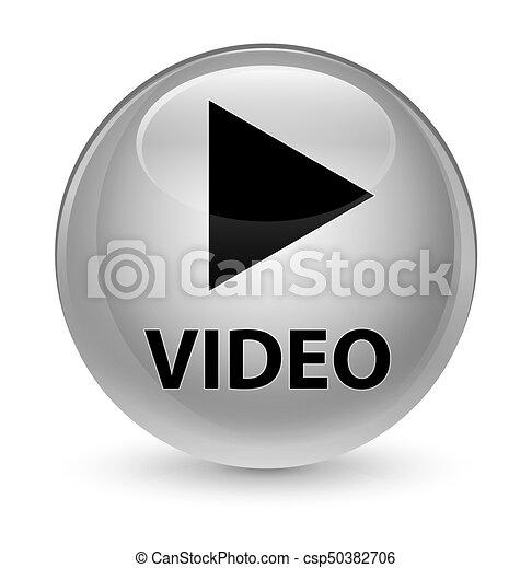 Video glassy white round button - csp50382706