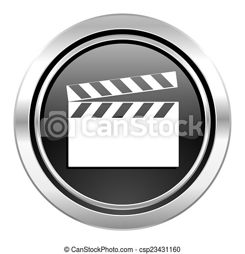 video icon, black chrome button, cinema sign - csp23431160