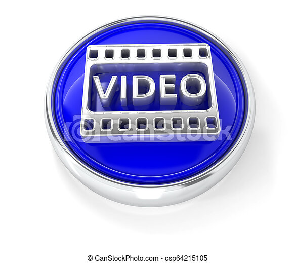 Video icon on glossy blue round button - csp64215105