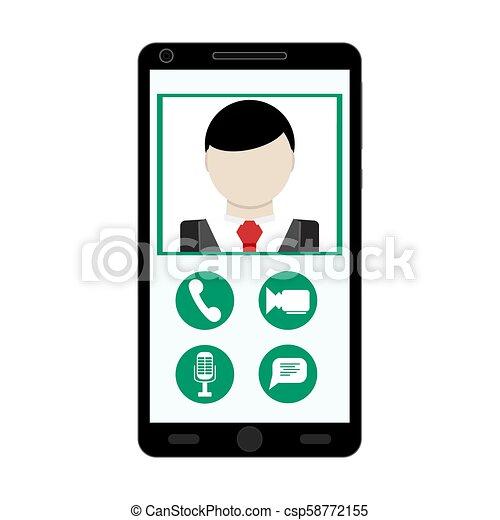video, korzystać, smartphone, rozmowa telefoniczna - csp58772155