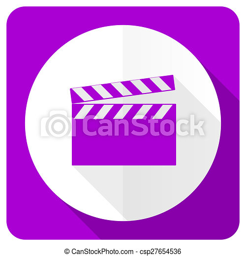 video pink flat icon cinema sign - csp27654536
