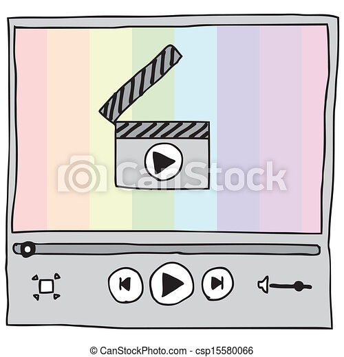Video Player Illustration Of Hand Drawn With Rainbow