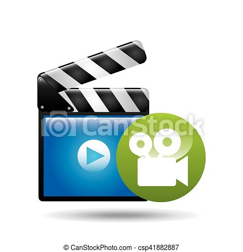 video player concept clapper and movie camera - csp41882887