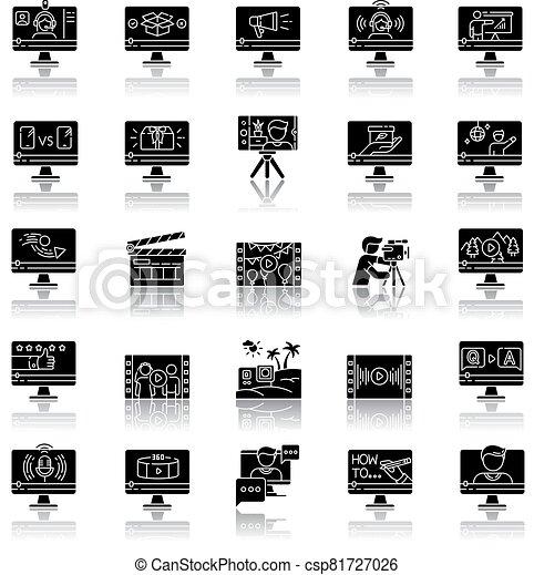 Video production drop shadow black glyph icons set - csp81727026