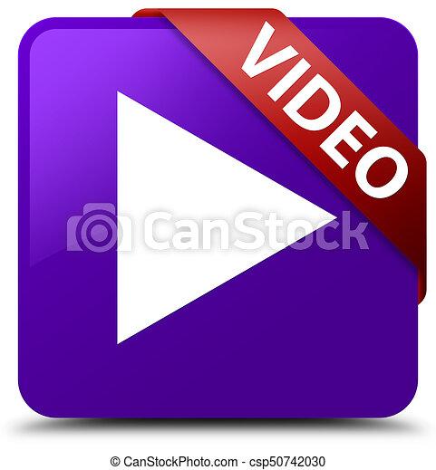 Video purple square button red ribbon in corner - csp50742030