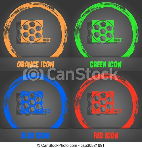 Video sign icon. frame symbol. Fashionable modern style. In the orange, green, blue, red design. Vector - csp30521891