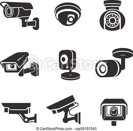 Video surveillance security cameras graphic icon pictograms set - csp35181543