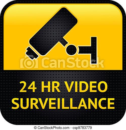 Video surveillance symbol, punched metal surface - csp9783779