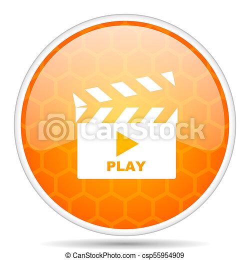 Video web icon. Round orange glossy internet button for webdesign. - csp55954909