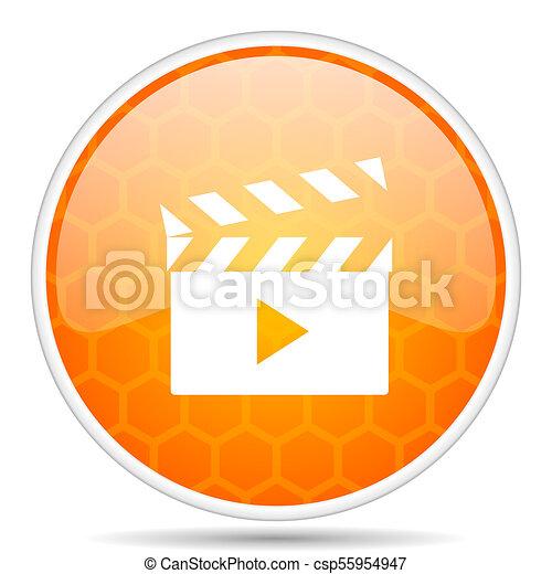 Video web icon. Round orange glossy internet button for webdesign. - csp55954947