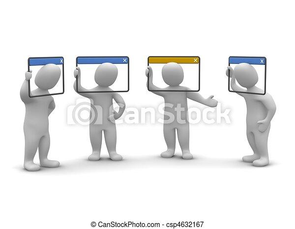 Concepto de videoconferencia por Internet. 3d ilustrado. - csp4632167