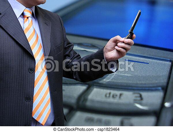 videoconferenza, uomo affari - csp1823464