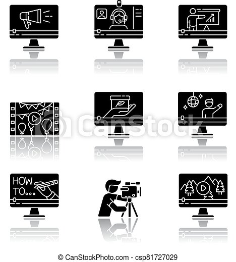 Videography drop shadow black glyph icons set - csp81727029