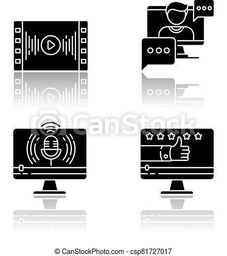 Videography drop shadow black glyph icons set - csp81727017