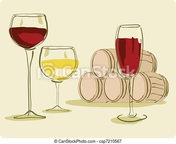 Un vaso de vino y un barril de vino - csp7210567