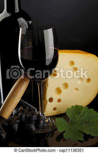vidrio, botella roja, vino - csp11136351