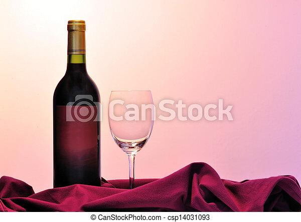 vidrio, botella roja, vino - csp14031093