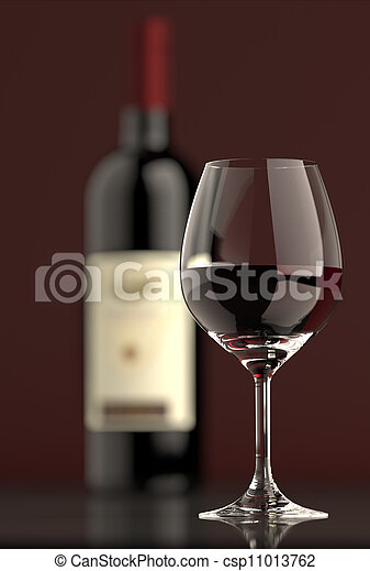 vidrio, botella roja, vino - csp11013762