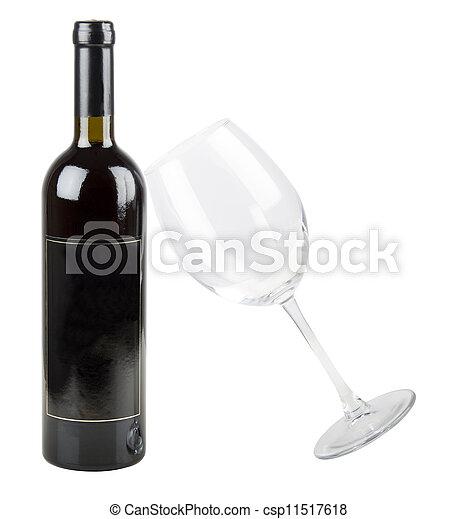 vidrio, botella roja, vino - csp11517618
