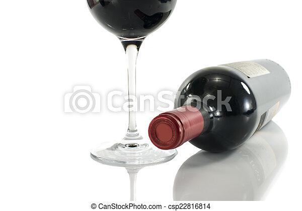 vidrio, botella roja, vino - csp22816814