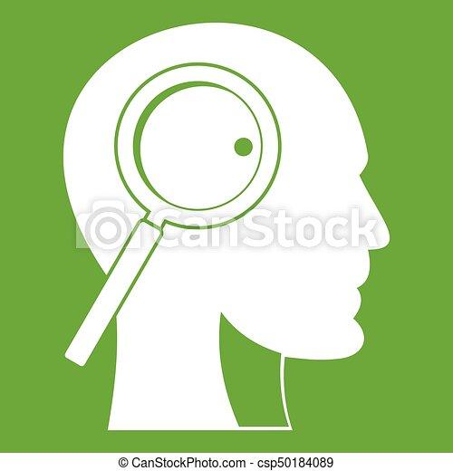 Vidrio magnificante en la cabeza verde icono - csp50184089